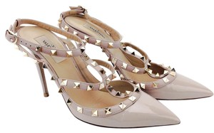 Valentino Patent Leather Rockstud Pointy Toe Ankle Strap Nude Pumps