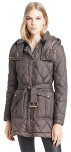 Burberry Brit Snap-flap Front Zip Closure Snap-tab Cuffs Removable Belt 85% Goose Down Dark Grey Womens Jean Jacket
