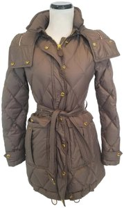 Burberry Snap-flap Front Zip Closure Snap-tab Cuffs Removable Belt 85% Goose Down Grey Womens Jean Jacket