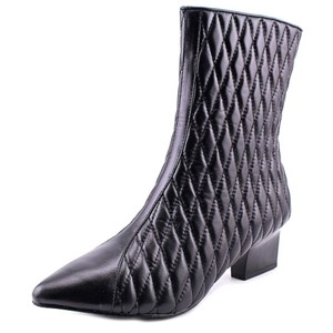 Adrianna Papell Quilted Leather Ankle Leather Classic Designer Black Boots