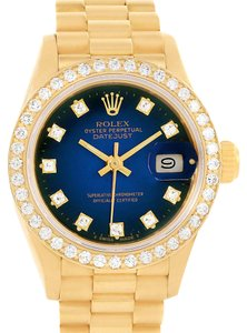 Rolex Rolex President Datejust Ladies 18k Yellow Gold Diamonds Watch 69138