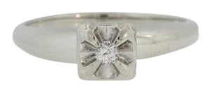 Other Antique Diamond Solitaire Ring- 14k White Gold