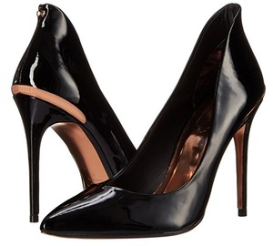 Ted Baker Patent Gold Stiletto Classic Black Pumps