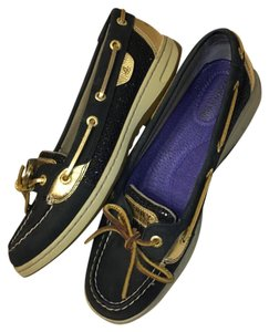 Sperry Boat Topsider Casual Blue & Gold Tan Flats