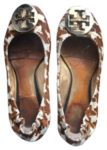 Tory Burch Limited Edition Calf Hair Leopard Leather Brown & Cream design Flats