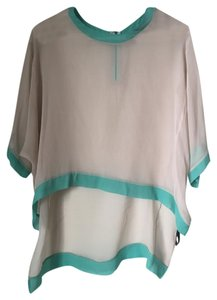 Elizabeth and James Sheer 3/4 Length Silk Top Light Beige/Grey with Turquoise