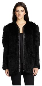 Elizabeth and James Fur Leather New Black Soft multi Jacket