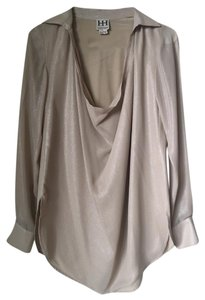 Haute Hippie Scoop Neck Silk Draping Longsleeve Top Silvery Beige/Grey Pink