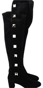 Valentino Rockstud Spiked Studded Suede Over-the-knee Black Boots