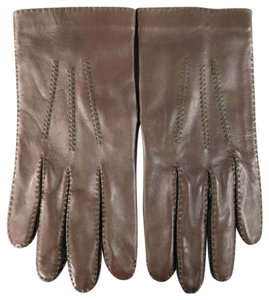 Herms Size 8 Brown Leather Top Stitch Gloves