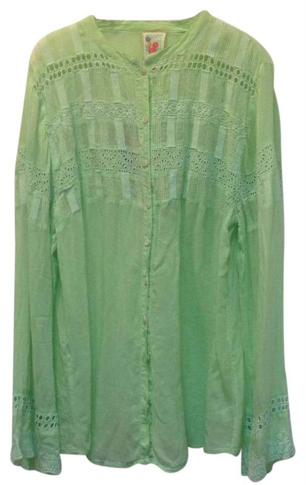 53e124032b4cd6 Johnny Was Mint Blouse Button-down Top Size 12 (L) - Tradesy