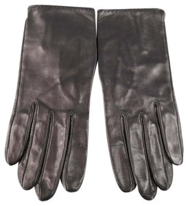 Herms Size 7 1/2 Soft Black Leather Gloves