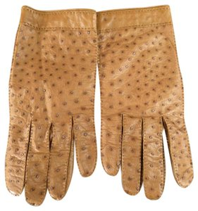 Herms Size 7 1/2 Tan Ostrich Leather Gloves