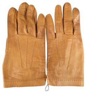 Herms Size 8 Tan Leather Gloves