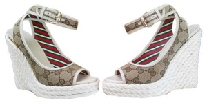 Gucci Tan Ankle Strap Platform Logo Beige, Brown and White Wedges