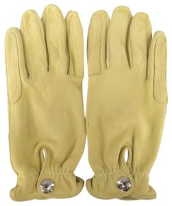 Herms Size 7 1/2 Beige Leather Silver Snap Closure Gloves
