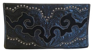 American West Western Leather Antiqued Spots Hair-on Cowhide Black Clutch
