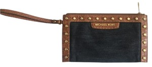 Michael Kors Michael Kors Denim and Brown Leather Wristlet with Gold Studs