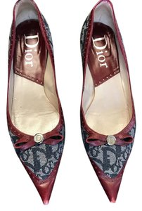 Dior Leather Red, Blue Denim Print Flats