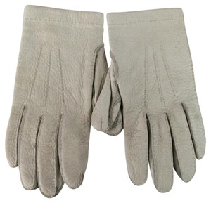 Herms Size 7 1/2 Ivory Textured Leather Gloves