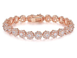 Luxury Rose Gold Plated Bridal Tennis Bracelet