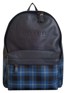 Coach Leather Men's Striped Travel Unisex Backpack