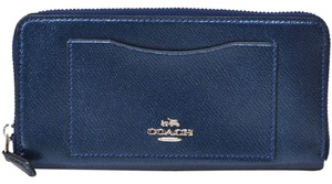 Coach NEW COACH metallic shimmer leather long Clutch wallet Navy blue