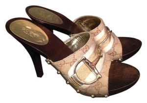Gucci Wooden brown beige gold Mules