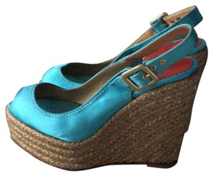 Christian Louboutin aqua/teal Wedges