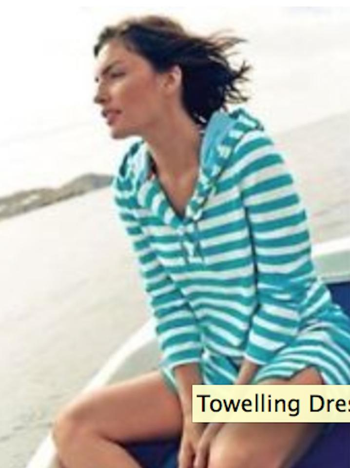 6e7c6125e5 Boden Pink Red Striped Terry Cloth Beach Pool Towelling Cover-up Tunic  Casual Dress