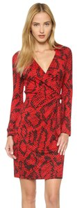 Diane von Furstenberg short dress Red Black Wrap Snake Red Dvf Silk on Tradesy