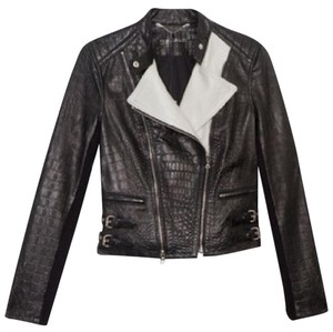Yigal Azrouël Croc Embossed Two-tone Black and White Leather Leather Jacket