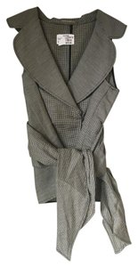 Charles Chang Lima Linen Structured Couture Top Black and White Checker