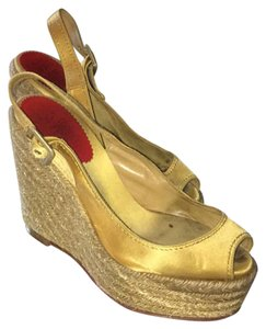 Christian Louboutin gold satin Wedges