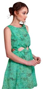 Anthropologie short dress Green Twisted Bodice Silky Cut Outs on Tradesy