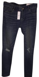 White House | Black Market Ripped Destroyed Skinny Jeans-Medium Wash