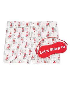 jenni by jennifer moore NEW Skiing Squirrel Boxer Pajama Shorts & Eye Mask