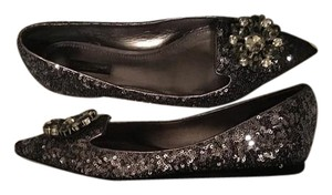 Dolce&Gabbana Pewter and Silver Sequins Flats