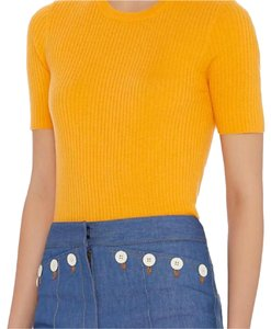 Frame Denim Ribbed Fitted Bright Knit Cotton T Shirt Yellow