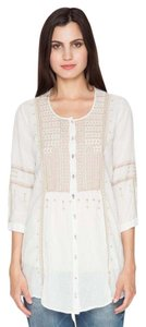 Johnny Was Cotton Button Down Three Quarter Sleeve Embroidered Needlepoint Tunic