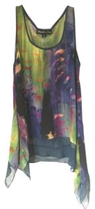 Elizabeth and James Bright Tie-dye Silk Asymmetrical Top Multicolor