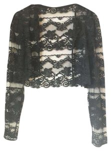 Other Couture Lace Vintage Crop Longsleeve Top Black Lace