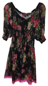 Betsey Johnson short dress Blacks & Reds Floral Sheer Empire Waist Removable Slip on Tradesy