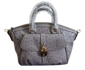 Dooney & Bourke Ostrichembossed Campbell Satchel in Grey Ostrich