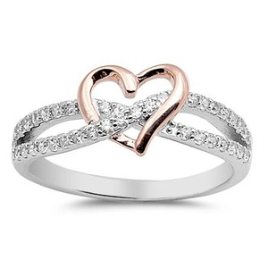 9.2.5 Gorgeous white sapphire heart knot ring size 7