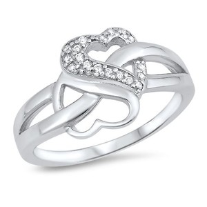 9.2.5 Stunning white sapphire silver double heart knot ring size 7