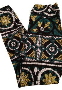 LuLaRoe Flowers Mosaic Floral Green White Yellow Black Leggings