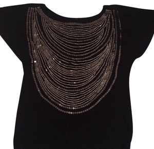 Cache Top Black Silver Sequins