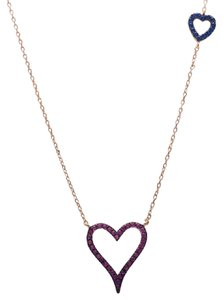 9.2.5 Amazing ruby and sapphire rose gold silver double heart necklace