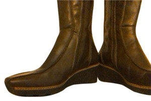ALDO Wedge Beige Leather Brown Boots